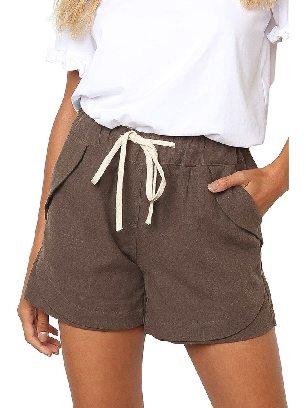 Khaki Women Summer Tied Rope High Waist Loose Shorts