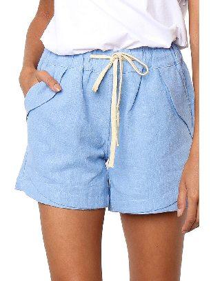 Blue Women Summer Tied Rope High Waist Loose Shorts
