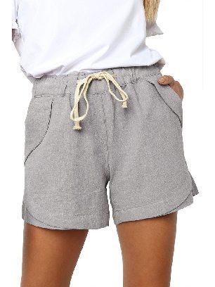 Supply Gray Women Summer Tied Rope High Waist Loose Shorts