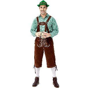 German beer festival clothing plaid shirt men Style beer suspenders suit Halloween Costume