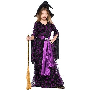 children purple witch dress purple star and moon print witch Halloween costume
