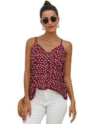 Supply Red Single-breasted Front Button V Neck Straps Sleeveless Tank Top