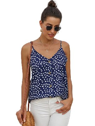 Blue Single-breasted Front Button V Neck Straps Sleeveless Tank Top