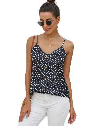 Black Single-breasted Front Button V Neck Straps Sleeveless Tank Top