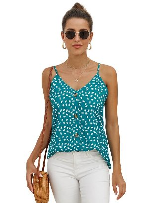 Green Single-breasted Front Button V Neck Straps Sleeveless Tank Top