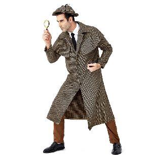 movie character detective Sherlock Holmes British plaid turtleneck jacket Halloween Costume