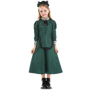 mysterious castle bat vampire servant dark green lace dress parent-child Halloween costume