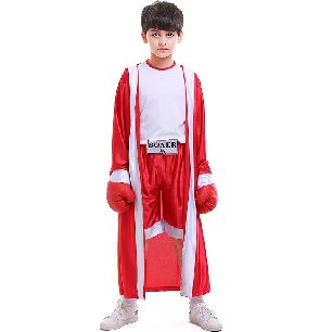 Halloween costume children sportswear red and blue boxer Kids boxing competition costume