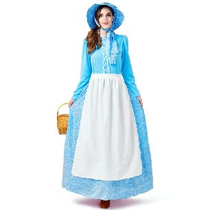 Women American Pioneer Colonial Dress Blue Prairie Costume Farm Master suit