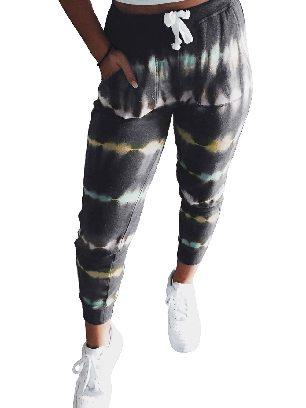 Gray Ancle-length Tie Dye Drawstring Waist Jogging Summer Pants
