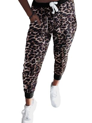 Leopard print Ancle-length Tie Dye Drawstring Waist Jogging Summer Pants