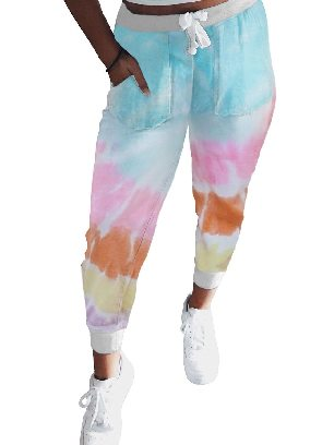 Gradient color Ancle-length Tie Dye Drawstring Waist Jogging Summer Pants