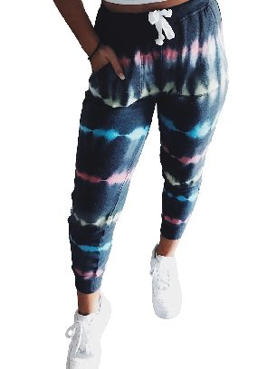 Dark blue Ancle-length Tie Dye Drawstring Waist Jogging Summer Pants