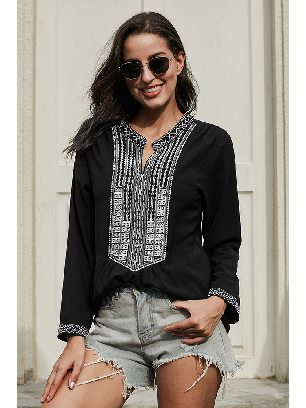 Supply Women Stitching Long Sleeves Front Embroidery Lace V-neck Blouse