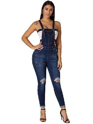 Dark blue Women High Waist Denim Jumpsuit Laidback Plus Size Overalls