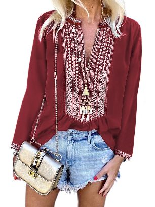 Red Women Stitching Long Sleeves Front Embroidery Lace V-neck Blouse