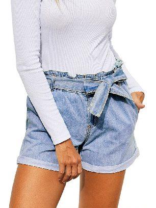 Light Blue Summer Women Waist Buttoned Crimping Denim Shorts