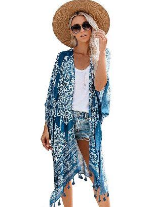 Blue Summer Vacation Beachwear Anja Tassel Kimono