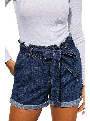 Blue Summer Women Waist Buttoned Crimping Denim Shorts