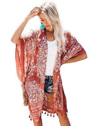 Brown Summer Vacation Beachwear Anja Tassel Kimono