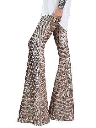 Apricot Women Sequin Wide Leg Pants