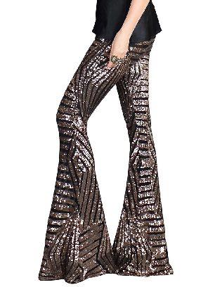 Brown Women Sequin Wide Leg Pants