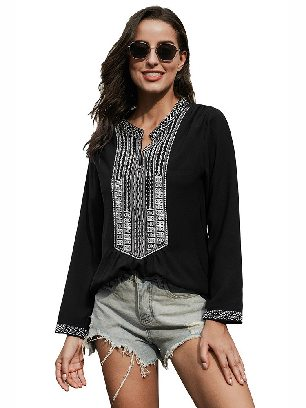 Black Women Stitching Long Sleeves Front Embroidery Lace V-neck Blouse