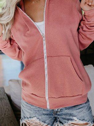 Supply Long-sleeved Sweater Slip Pocket Zip-up Hoodie Jacket