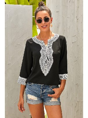 Supply Calf-Length Sleeves Boho Embroidered V Neck Loose Blouse