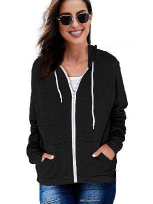 Black Long-sleeved Sweater Slip Pocket Zip-up Hoodie Jacket