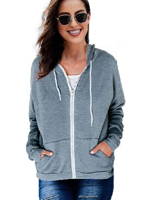 Light Blue Long-sleeved Sweater Slip Pocket Zip-up Hoodie Jacket