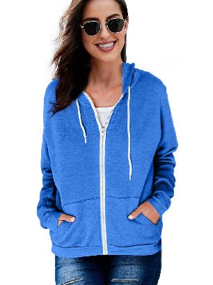 Blue Long-sleeved Sweater Slip Pocket Zip-up Hoodie Jacket
