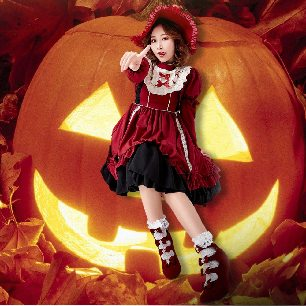 Burgundy Lolita Witch Halloween costume with Detachable Sleeve