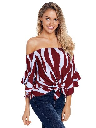 Red Off The Shoulder Vertical Stripes Flared Sleeve Blouse