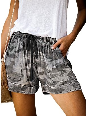 Camouflage Women Casual Printing Elastic Waist Straight Pocketed Shorts