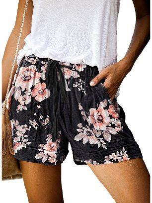 Black Women Casual Printing Elastic Waist Straight Pocketed Shorts
