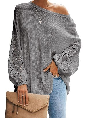 Gray Pure Color Loose Casual Puffy Sleeve Women Top