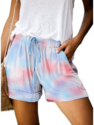 Color Women Casual Printing Elastic Waist Straight Pocketed Shorts