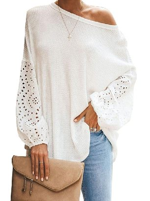 White Pure Color Loose Casual Puffy Sleeve Women Top