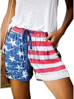 USA Flag Women Casual Printing Elastic Waist Straight Pocketed Shorts