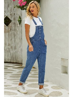 Supply Grommet Detail Straight Loose Denim Overall