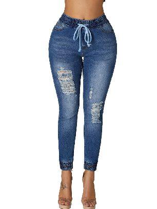 Dark blue Elastic Waist Denim Mode Distressed Jogger Jeans