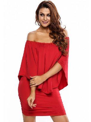 Red Multiple Dressing Layered Irregular Ruffle Mini Poncho Dress