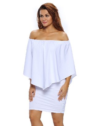 White Multiple Dressing Layered Irregular Ruffle Mini Poncho Dress