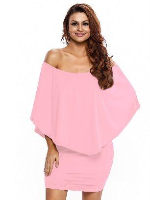 Pink Multiple Dressing Layered Irregular Ruffle Mini Poncho Dress