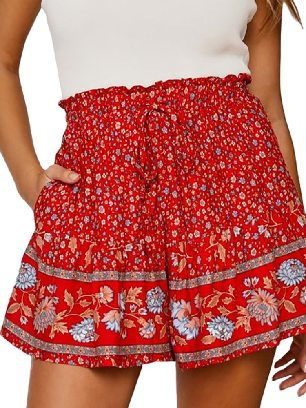 Red (pattern) Casual Shorts Summer Boho Floral Print A-line Elastic Waist