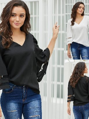 Supply Calf-Length Sleeves Flare Sleeve V Neck Loose Blouse