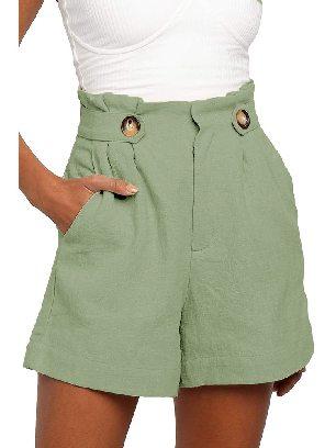 Light Green Casual Shorts Ruffle Frilled High Waist