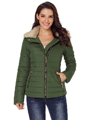 Green Casual Winter Faux Fur Collar Decoration Long Sleeve Trim Jacket
