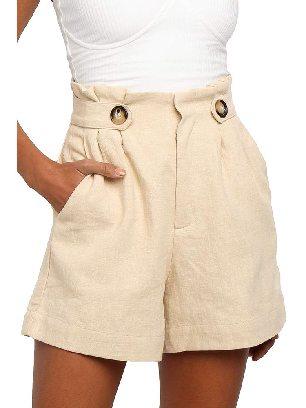 Beige Casual Shorts Ruffle Frilled High Waist